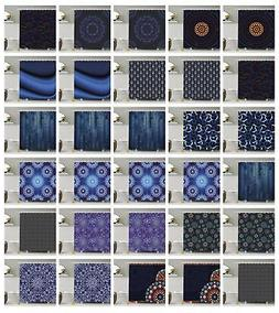 Dark Blue Pattern Shower Curtain Fabric Decor Set with Hooks