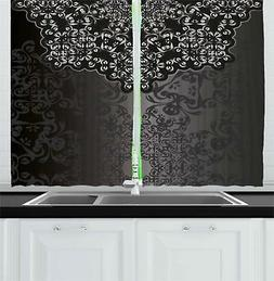 "Dark Grey Kitchen Curtains 2 Panel Set Window Drapes 55"" X 3"
