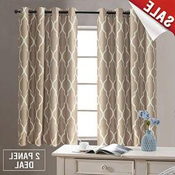 "Dark Taupe Curtains 2 Panel 45"" Long for Living Room Curtain"