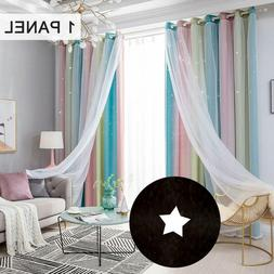 Decdeal Star Curtains Stars Blackout Curtains for Kids Bedro