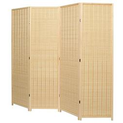 MyGift Decorative Freestanding Beige Woven Bamboo 4 Panel Hi