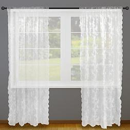 DII Sheer Lace Decorative Curtain Panels For Bedroom, Living