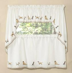 Dogs embroidered kitchen curtain collection