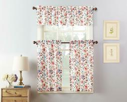 Dora Floral Microfiber 3 Piece Kitchen Curtain Set 54 x 36 C