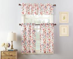 No. 918 Dora Floral Microfiber 3-Piece Kitchen Curtain Set,