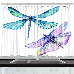 Dragonfly Watercolor Style Kitchen Curtains 2 Panel Set Deco