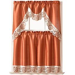 DREAMLAND Kitchen Curtain Set/ Swag valance & tier set. Nice