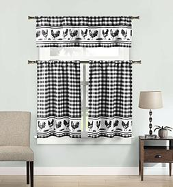 DUCK RIVER TEXTILES - Checkered Kitchen Window Curtain Set H