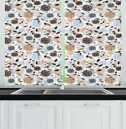 Earthy Tones Kitchen Curtains 2 Panel Set Window Drapes 55""
