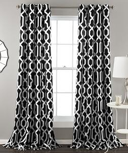 Lush Decor Edward Room Darkening Window Curtain Panel Pair,