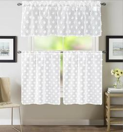 EHP 3 Piece Diamond Sheer Embroidered Kitchen Curtain, Rod P