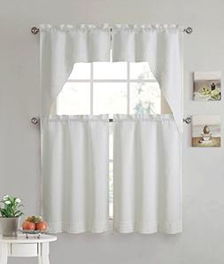 Eleanor 4 Piece Macrame Kitchen Curtain Set, Updated Traditi