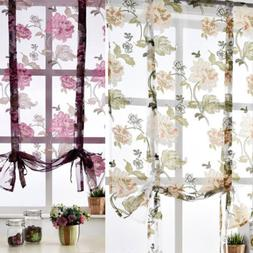 Elegant Floral Short Roman Curtain Tie-up Kitchen Window Sha
