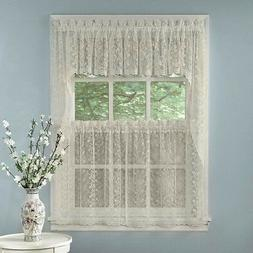 Elegant Ivory Priscilla Lace Kitchen Curtains - Tiers, Tailo