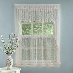 Elegant White Priscilla Lace Kitchen Curtains - Tiers, Tailo
