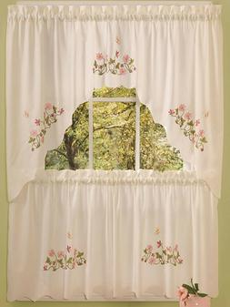Embellished Cottage Curtains Set  BUTTERFLIES & FLOWERS, MOL