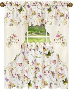 Embellished Cottage Curtains Set  BUTTERFLIES & FLOWERS,ENCH