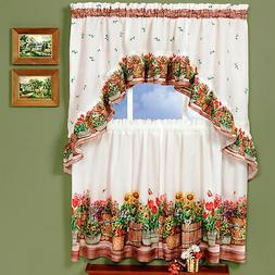 Embellished Window Floral Kitchen Curtain Set, Small Panels