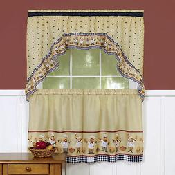 Embellished Window Kitchen Curtain Set, Small Panels and Val