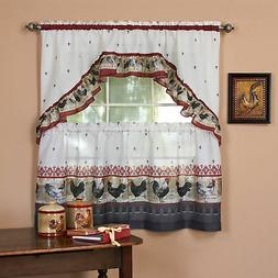 Embellished Window Rooster Kitchen Curtain Set, Small Panels