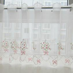 Embroidered Floral Curtain Kitchen Cafe Lace Window Sheer Va