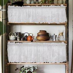 Embroidered Lace Window Kitchen Cafe Half Short Curtains Val
