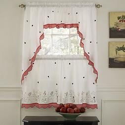 Embroidered Ladybug Meadow Kitchen Curtains Choice of Tiers