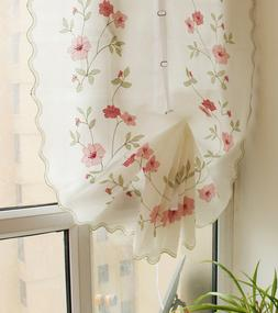 Embroidered Rose Balloon Shade Curtain Sheer Kitchen Cafe Pu