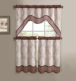 Everwood Embroidered Sheer Kitchen Curtain Tiers & Swag Set