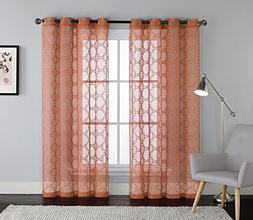 Embroidered Sheer Window Curtain Panel : Grommets, Trellis D
