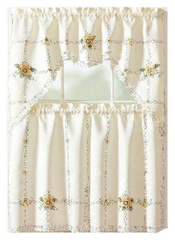 Embroidered Sunflowers Complete Kitchen Curtain Tier & Swag