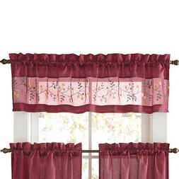 Embroidered Vines Fairfield Rod Pocket Kitchen Cafe Curtain,