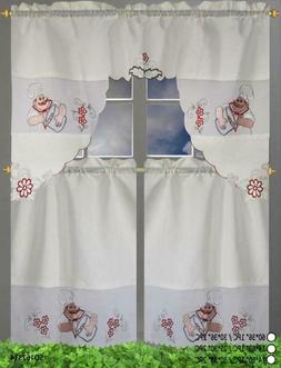 embroidery kitchen curtain 3pc set 60x38 30x36