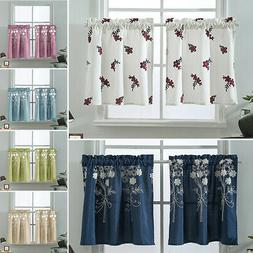Embroidery  Short Curtain Kitchen Cafe Curtains Bedroom Bath