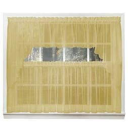 Emelia Sheer Voile Kitchen Curtain - Gold Tiers, Swags, Vala