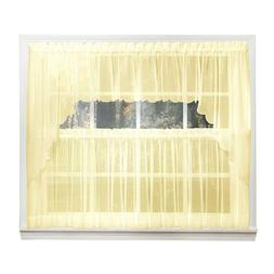 Emelia Sheer Voile Kitchen Curtain - Yellow Tiers, Swags, Va