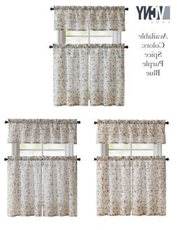 VCNY Home Emeria Floral Kitchen Curtain Tier & Valance Set -