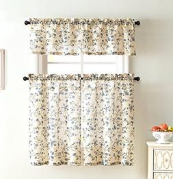 Emeria Poly Linen Kitchen Window Curtains: Delicately Sketch