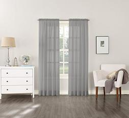 """No. 918 Emily Sheer Voile Curtain Panel, 59"""" x 108"""", Charcoa"""