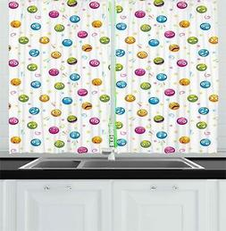 "Emoji Kitchen Curtains 2 Panel Set Window Drapes 55"" X 39"" A"