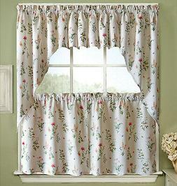 English Garden Floral White Jacquard Kitchen Curtains Tier,