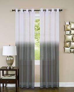 Essential Home Set of 2 Ombre Sheer Window Curtain Panels  -