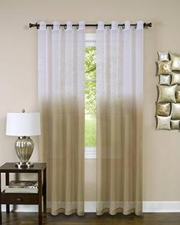 Essential Home Ombre Sheer Window Curtain Panel  - Tan