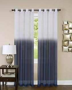 Essential Home Ombre Sheer Window Curtain Panel  - Blue