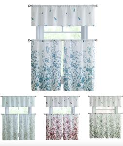 VCNY Home Estela Floral Kitchen Curtain Tier & Valance Set -