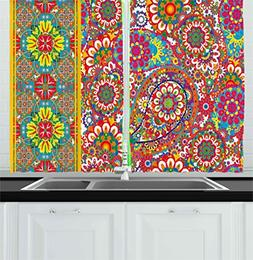 Ambesonne Ethnic Kitchen Curtains by, Persian Paisley Leaf O