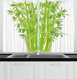 Ambesonne Exotic Kitchen Curtains, Bamboo Stems with Leaves