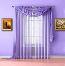 Warm Home Designs Pair of Long Length Lilac  Sheer Window Cu