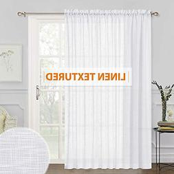 RYB HOME Extra Wide Linen Sheer Curtains Thick White Window