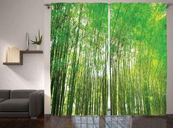 Ambesonne Fabric Curtains Bamboo Panels Room Divider Windows